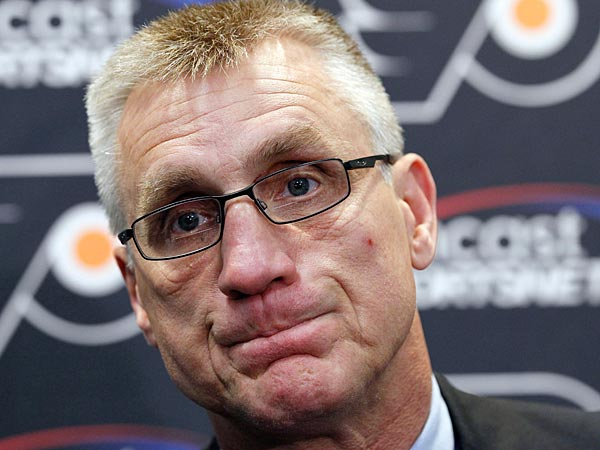 Paul Holmgren, general manager of the Philadelphia Flyers hockey team, pauses while speaking during a media availability at their practice facility, Thursday, May 10, 2012 in Voorhees, N.J. The Flyers lost to the New Jersey Devils in the Eastern Conference semifinals. (AP Photo/Alex Brandon)