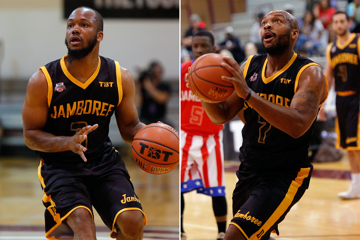Former Drexel teammates Chris Fouch (left) and Samme Givens in action during The Basketball Tournament on Saturday at Philadelphia University.