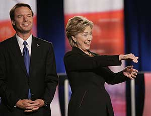 John Edwards and Hillary Clinton before the start of the debate.