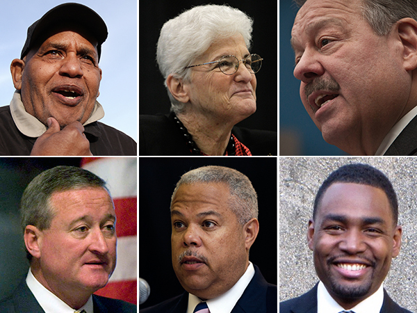 Philadelphia mayoral candidates (clockwise from top left) T. Milton Street Sr., Lynne M. Abraham, Nelson Diaz, Doug Oliver, Anthony H. Williams, and Jim Kenney. (Staff photos)