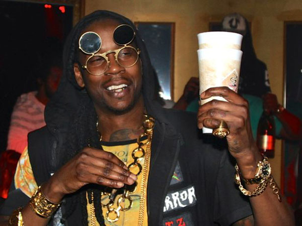 Rapper 2 Chainz sipping on some sizzurp.