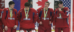 Alexei Cherepanov (left) could be a Flyers draft pick. He's with fellow Team Russia players Semen Valramov, Gennadi Churilov and Anton Krysanov, after earning a silver medal at under-20 Worlds.
