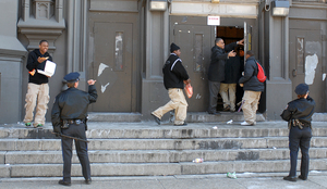 Philadelphia police join school officers as students return to school following the disruption.