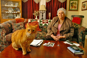 Veteran teacher Joy Rich and her cat, Humphy. The 2005 assault by two disruptive students left her with a concussion and shattered teeth.