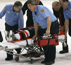 Ottawa's Patrick Eaves is removed from the ice on a stretcher last Sunday after a hit by Pittsburgh's Colby Armstrong that left the winger unconscious and with a concussion.