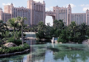 On Nassau's neighboring Paradise Island, the Atlantis hotel's 11-lagoon waterscape is home to more than 50,000 sea creatures.