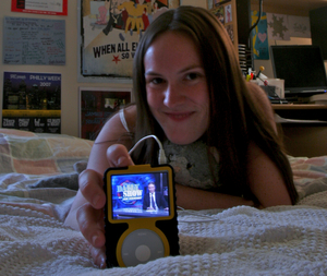 "Penn senior Jen Jablow, with Jon Stewart on her iPod , views watching network news as ""something my parents do."""