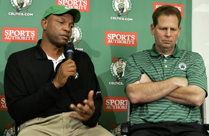 Celtics head coach Doc Rivers (left) and general manager Danny Ainge show their disappointment as they speak to the media Tuesday. Boston slipped from the top three in the NBA lottery to number five.