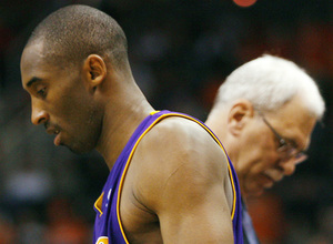 The Lakers' Kobe Bryant and head coach Phil Jackson could be headed in different directions, as they were after a time-out in the closing moments of a playoff game last month in Phoenix.