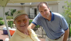 """Richie Valentine, the affable longtime superintendent at Merion Golf Club who died a week ago at 78, with his son, Tom. """"You couldn't have a five-minute conversation with Richie,"""" one friend said."""
