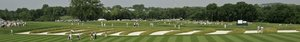 """This bunker arrangement at Oakmont, which separates the third and fourth fairways, is called the """"church pews."""" Oakmont's broad vista is party due to the recent removal of thousands of trees."""