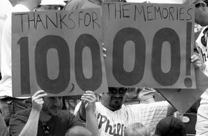Phillies fans remind their team of the notorious milestone at a game against the Rockies.