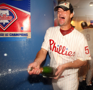 Jamie Moyer gets into the spirit of the moment after pitching Phillies to NL East crown.