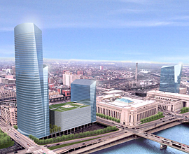 This artist's rendering shows the Post Office redevelopment area, anchored by Cira Center South. Rendering provided by Brandywine Realty Trust.