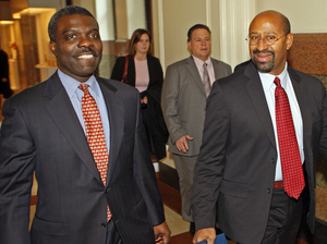 Clarence Armbrister with Michael Nutter