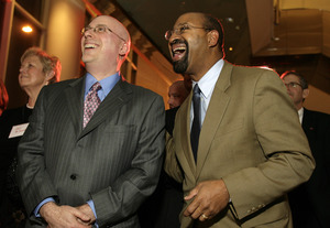 Mayor Nutter is not laughing about Larry Platt´s would-be run for congress.  We think.