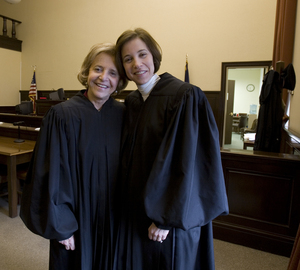 "Phyllis Beck (left) and Alice Beck Dubow, the first mother-daughter judges in Pennsylvania. Dubow wears her mother's robes in Family Court. ""Her voice is always in my head,"" she said."