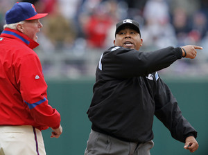 Adrian Johnson ejects Charlie Manuel for pointing out that he blew a home run call in yesterday's 6-5 loss to the Cubs. Nobody ejected Johnson.