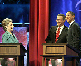 Clinton and Obama last night with moderator Charles Gibson