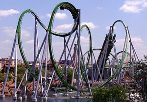 The Incredible Hulk is one of two roller coasters at Islands of Adventure. The other, Dueling Dragons, has twin coasters.