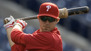 Chase Utley takes a few swings with his favorite BP bat before it broke May 9.
