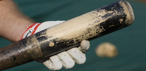 Chase Utley's BP bat before it died May 9 in San Francisco.