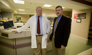 Brandywine Hospital neurosurgeon Andrew Freese (left) and CEO Mark Benz are working to reopen a trauma center at the Coatesville hospital.