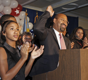 Mayor Nutter - shown here the night he was elected - benefits, as an incumbent, from a flaw in the city's campaign-finance law.