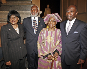 The 33rd annual Odunde festival opened with a reception at City Hall yesterday. Guests included (from left) Councilwoman Jannie Blackwell; Stanley Straughter, festival chairman; Lois Fernandez, festival founder, and Charles Koffi, ambassador from the Republic of Cote d'Ivoire.