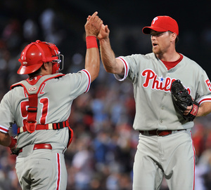 Brad Lidge struck out the side in the ninth inning in last night´s 6-2 victory over the Braves.