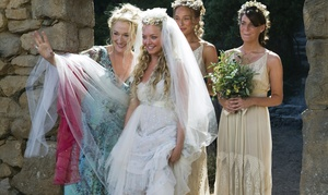 """Meryl Streep (left) as Donna, the mother of Sophie, who is played by Amanda Seyfried (center), in the ABBA musical-turned-movie, """"Mamma Mia!"""" Rachel McDowall and Ashley Lilley (right) play Sophie's friends."""
