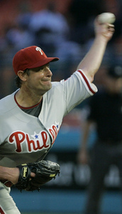 Jamie Moyer gave up four hits and two runs in six innings against the Marlins.