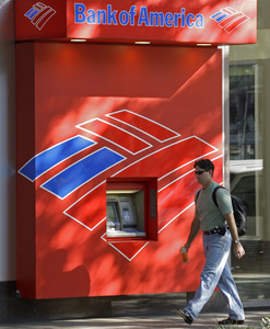 A Bank of America ATM in Charlotte, N.C. The bank's quarterly earnings fell 41 percent yet beat forecasts. And its stock rose.
