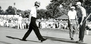 Winner Dow Finsterwald (center) and Doug Ford watch Sam Snead walk across Llanerch's 18th green at the 1958 PGA Championship.
