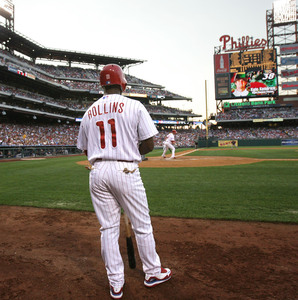 After getting benched for showing up late against the Mets, Jimmy Rollins was in the starting lineup for the series opener with the Braves.