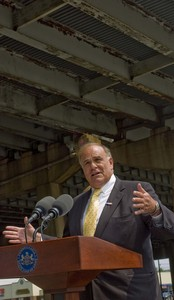 Gov. Rendell beneath an I-95 bridge that was closed for three days,