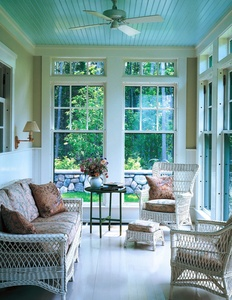Blue porch ceilings are said by some to promote a cool, calming atmosphere. The tradition also has some superstition behind it - that blue ceilings ward off evil spirits, as well as spiders and wasps, and that blue is a harbinger of good luck.