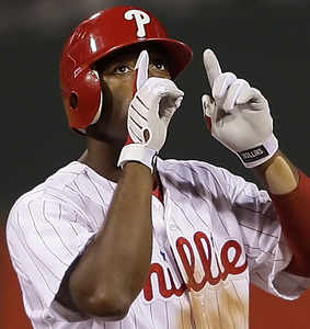 Jimmy Rollins is thankful for a sixth-inning double last night at the Bank. He went 3 for 3. Fans love him again.