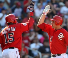 Ryan Zimmerman celebrates his two-run homer off Kyle Kendrick, who could be skipped in the rotation this weekend in New York.