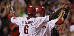 Jayson Werth and Ryan Howard bring it in for the real thing after Werth´s three-run homer last night at Citizens Bank Park.