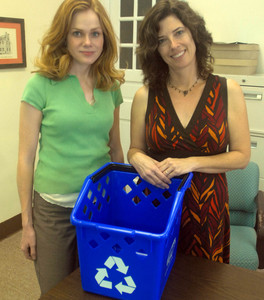 Jennifer Kelley and Lori Braunstein with one of the new recycling bins.