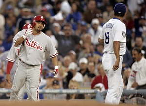 Shane Victorino and the Dodgers' Hiroki Kuroda jaw at each other after Kuroda's pitch came close to Victorino.
