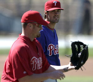 Phillies pitchers Brett Myers (left) and Cole Hamels take part in practice at Dodger Stadium. Hamels is scheduled to start tonight in Game 5 against Los Angeles.