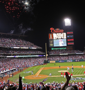 "The night sky at Citizens Bank Park is lit up with fireworks after the Phillies won Game 2 of the National League division series vs. the Brewers. ""You want to try to leave your mark here,"" Ryan Howard said."