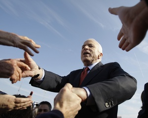 U.S. Sen. John McCain on the campaign trail yesterday.