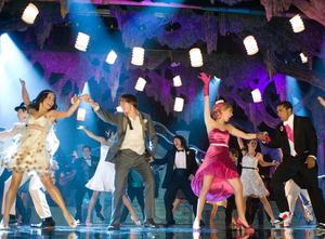 "A dynamic dance sequence from ""High School Musical 3: Senior Year"" with (from left) Vanessa Anne Hudgens, Zac Efron, Ashley Tisdale and Jason Williams."
