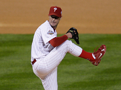 Phillies starting pitcher Jamie Moyer throws during the first inning of Game 3 of the World Series tonight at Citizens Bank Park. ( Dave Maialetti / Staff<br />Photographer)