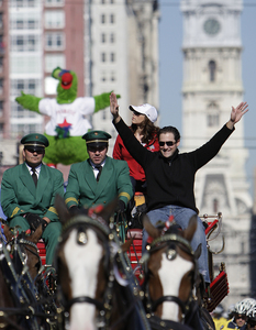 Pat Burrell celebrates as he leads the Phillies down Broad Street on a horse-drawn beer wagon. Burrell, a Phil for nine seasons, is a free agent.