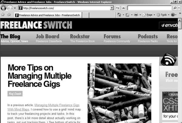 Freelance Switch offers freelance workers behind-the-scenes advice on such topics as taxes, self-promotion and time management.