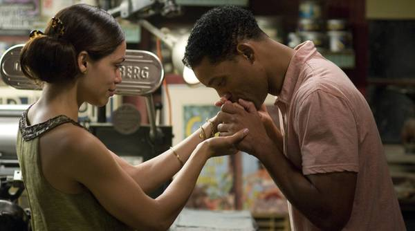 """No spoilers: Will Smith and Rosario Dawson in """"Seven Pounds,"""" a film with a jigsaw-puzzle story for viewers to fit together. We'll say no more."""